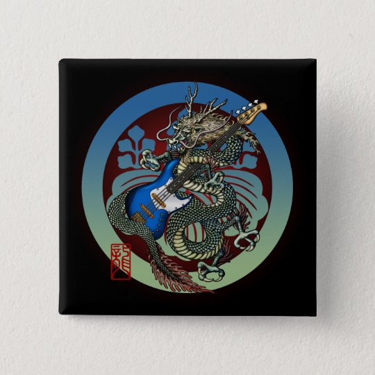 Dragon Bass 04 5.1cm 正方形バッジ