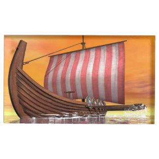 Drakkarまたはバイキングの船- 3Dは描写します テーブルカードホルダー