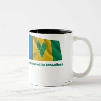 Drapeau聖者ヴィンチェンツォとlesグレナディンのfrançais ツートーンマグカップ
