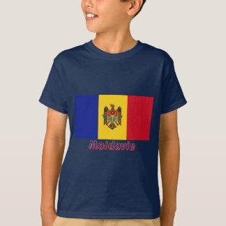 Drapeau Moldavie avec le nom enのfrançais Tシャツ