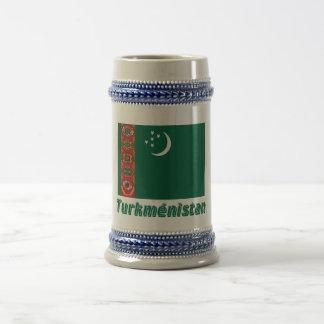 Drapeau Turkménistan avec le nom enのfrançais ビールジョッキ