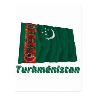 Drapeau Turkménistan avec le nom enのfrançais ポストカード