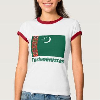 Drapeau Turkménistan avec le nom enのfrançais Tシャツ