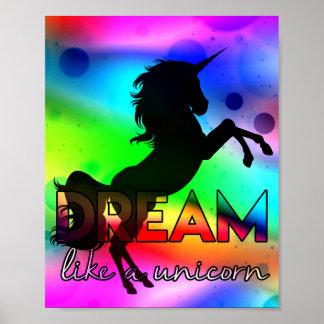 Dream Like a Unicorn! - Bright, colorful design ポスター