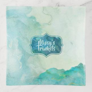 Dreamy Aqua Marble Watercolors トリンケットトレー