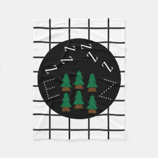 Dreamy ZZZs Monogram Trendy Plaid Trees Blanket1 フリースブランケット