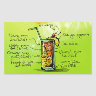Drink- Cocktail Gift Bahamaのママ 長方形シール