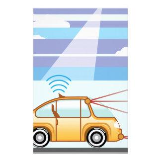 Driverless車。 車の自己運転 便箋