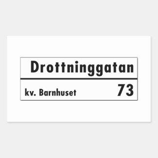 Drottninggatan、ストックホルムのスウェーデンの道路標識 長方形シール