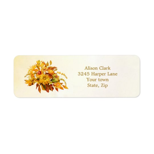 Dryedの紅葉および花のラベル 返信用宛名ラベル