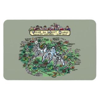 DUモンブランの漫画の地図-磁石4x6 --を旅行して下さい マグネット