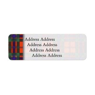 Duartの格子縞のスコットランド人のタータンチェックのMaclean ラベル