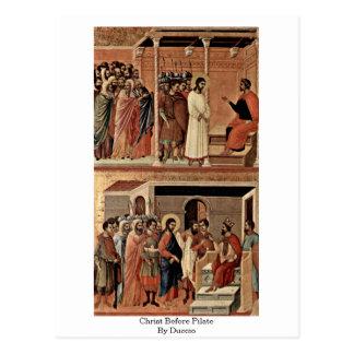 Duccio著Pilateの前のキリスト ポストカード