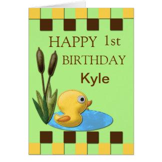 Duckie、池及びネコヤナギの黄色い第1誕生日 カード
