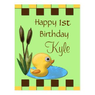 Duckie、池及びネコヤナギの黄色い第1誕生日 ポストカード