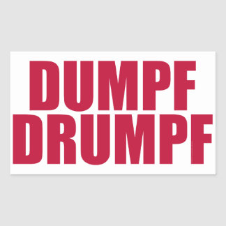 DUMPF DRUMPF (白で赤い) 長方形シール