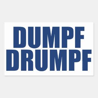 DUMPF DRUMPF (白で青い) 長方形シール