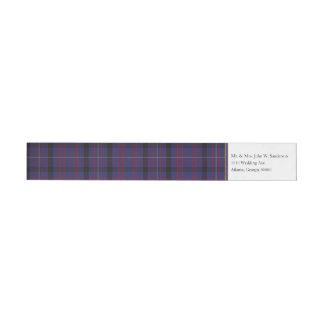 Dundonaldの格子縞の覆いの宛名ラベル ラップアラウンドラベル