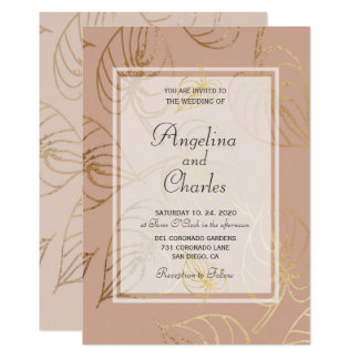 Dusty Rose Exotic Gold Floral Wedding Invitation カード