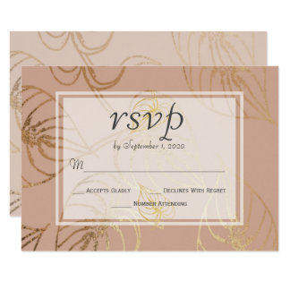 Dusty Rose Exotic Gold Floral Wedding RSVP カード