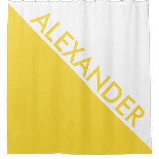 DYI + パイナップル黄色2の三角形のDiagのモノグラム シャワーカーテン