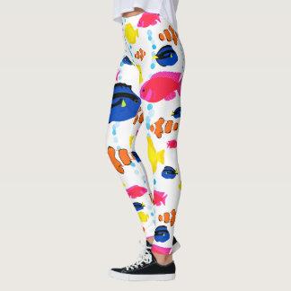 Dynamic Colorful Whimsical Tropical Fish レギンス