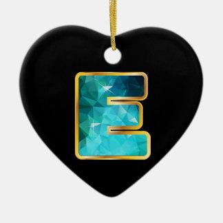 """Eの""""金ゴールド""""チャネルの低多ティール(緑がかった色)水 セラミックオーナメント"""