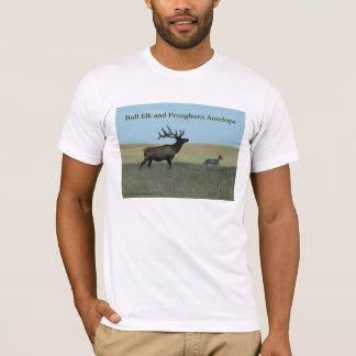 E0034 BullのオオシカおよびPronghornカモシカ Tシャツ