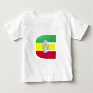 E (エチオピア)のモノグラムの旗 ベビーTシャツ