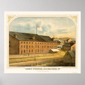 E. Sachse & Company 1865年著Libbyの刑務所、 ポスター