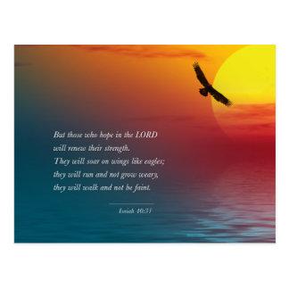 Eagleアイザイアの40:31の詩の聖書の主の上昇 ポストカード