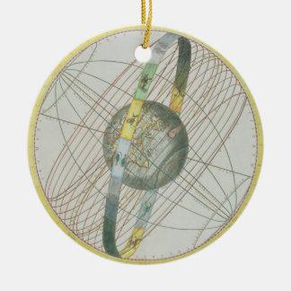 Eartのまわりで月の軌道を図表にする地図 セラミックオーナメント
