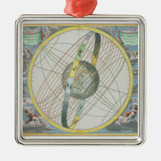Eartのまわりで月の軌道を図表にする地図 メタルオーナメント
