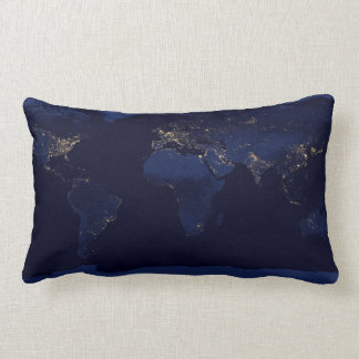 Earth Lights At Night Throw Pillow ランバークッション