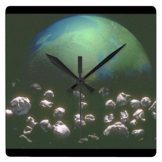 Earth_Space場面のまわりの石の残骸 スクエア壁時計