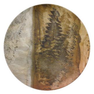 Earthtoneの水彩画-ブラウンの暖かい地球はシダにある調子を与えます プレート