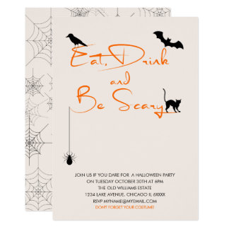 Eat Drink and Be Scary Halloween Party Card 12.7 X 17.8 インビテーションカード