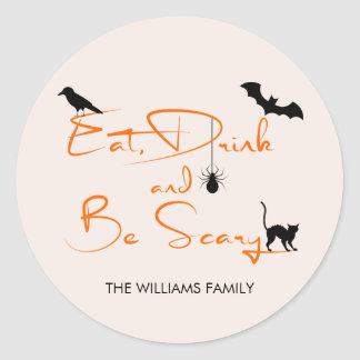 Eat Drink and Be Scary Halloween Round Sticker ラウンドシール
