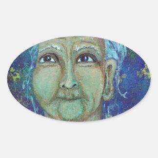 Ebb神のフェミニンな伯母さん 楕円形シール