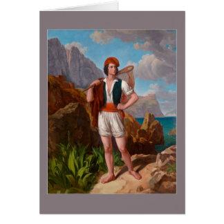 Ebert著アマルフィの海岸の漁師 カード