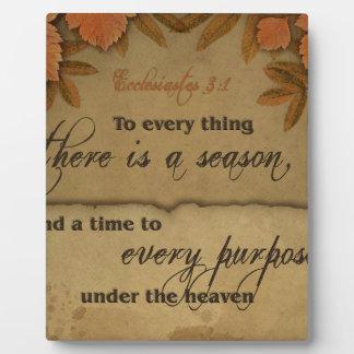 Ecclesiastesの3:1の聖なる書物、経典の芸術のギフト フォトプラーク