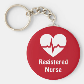 ECGの波の赤のkeychainとの公認看護師のハート ベーシック丸型缶キーホルダー