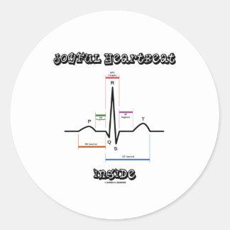 ECG EKGの心電図の中の嬉しい心拍 丸型シール