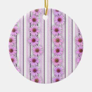 Echinaceaの花は縞で飾ります セラミックオーナメント