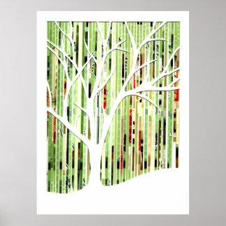 Ecoの芸術の緑の木の混合メディアのプリント ポスター