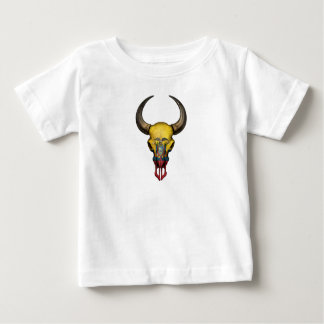Ecuadorianの旗のBullのスカル ベビーTシャツ