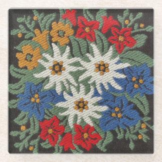 Edelweissの高山の花 ガラスコースター
