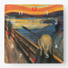 "Edvard Munch , "" The Scream "" スクエア壁時計"