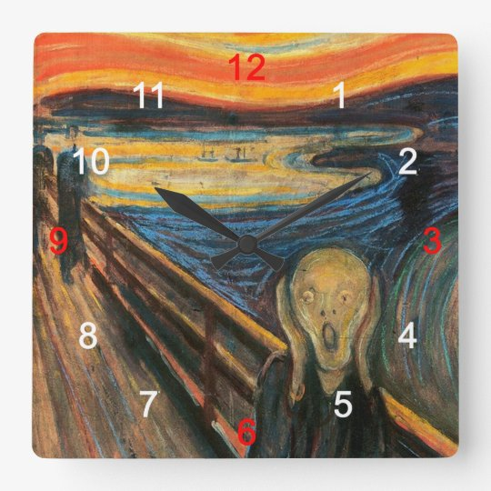 "Edvard Munch , "" The Scream "" スクエア壁時計"