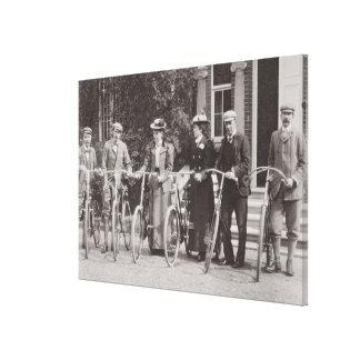 Edwardianの競輪選手のグループ、早い1900年代(b/w pH キャンバスプリント